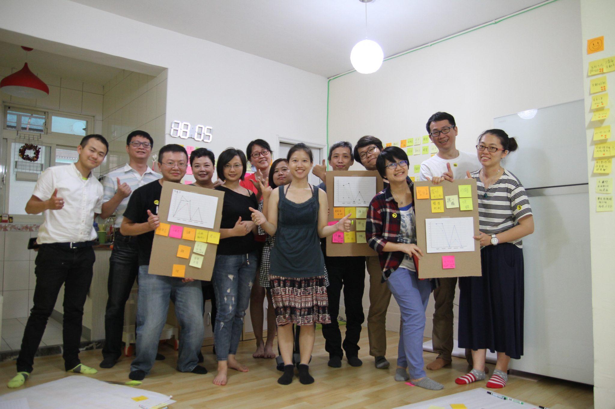 五感減一洞察訓練工作坊結束,學員們拿起成果和講師大合照