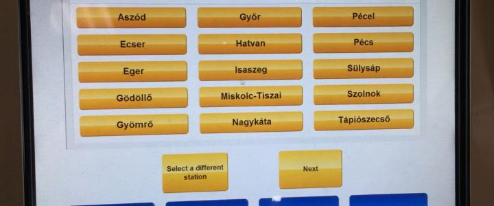 匈牙利火車自助購票機的操作畫面