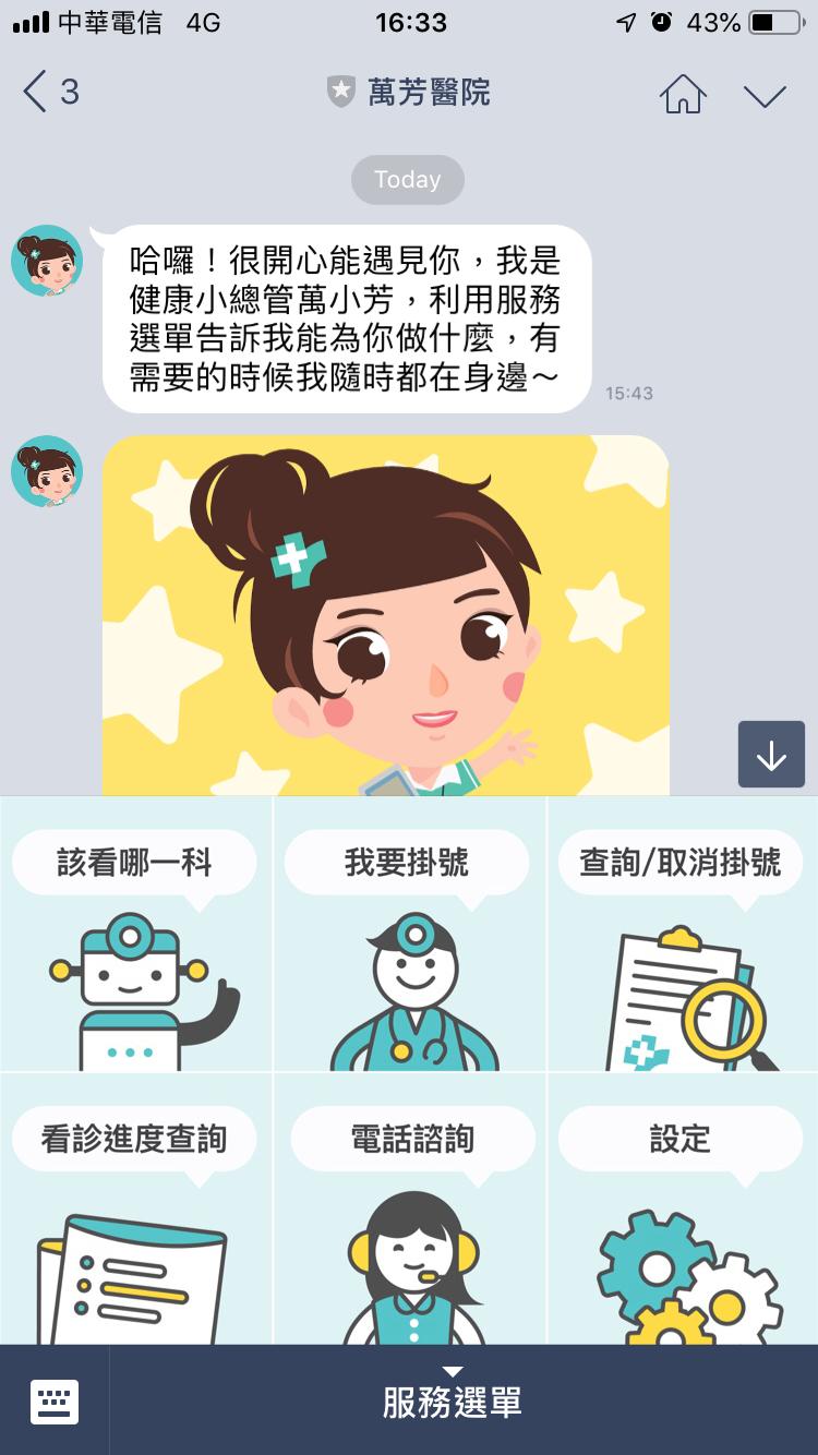 臺北市立萬芳醫院推出學習型聊天機器人,方便初訪者了解醫院服務項目、病患掛號及進度查詢等。
