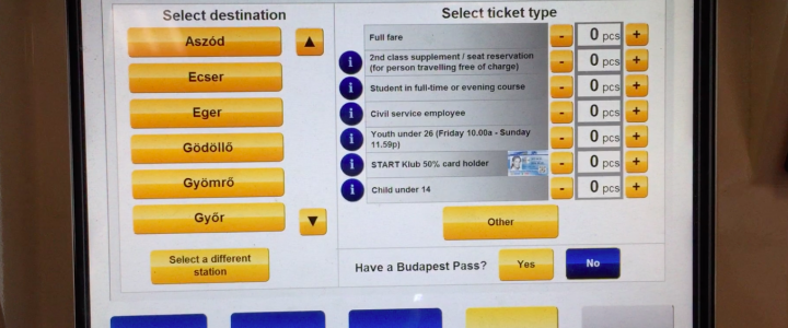 匈牙利火車自助購票系統有快速購票的介面選項